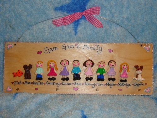 11 CHARACTER3d FAMILY WEDDING  TEACHER SIGN PLAQUE PEOPLE PETS CAT DOG
